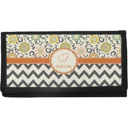 Swirls, Floral & Chevron Canvas Checkbook Cover (Personalized)