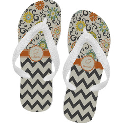 Swirls, Floral & Chevron Flip Flops - XSmall (Personalized)