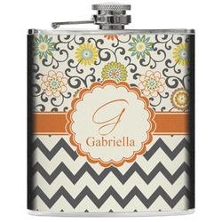 Swirls, Floral & Chevron Genuine Leather Flask (Personalized)