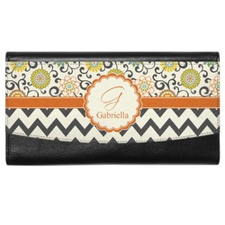 Swirls, Floral & Chevron Genuine Leather Ladies Wallet (Personalized)