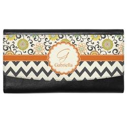 Swirls, Floral & Chevron Genuine Leather Ladies Wallet (Personalized)