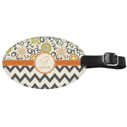 Swirls, Floral & Chevron Genuine Leather Luggage Tag (Personalized)