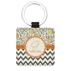 Swirls, Floral & Chevron Genuine Leather Rectangular Keychain (Personalized)
