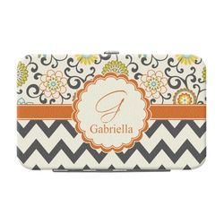 Swirls, Floral & Chevron Genuine Leather Small Framed Wallet (Personalized)