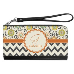 Swirls, Floral & Chevron Genuine Leather Smartphone Wrist Wallet (Personalized)