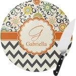 Swirls, Floral & Chevron Round Glass Cutting Board (Personalized)