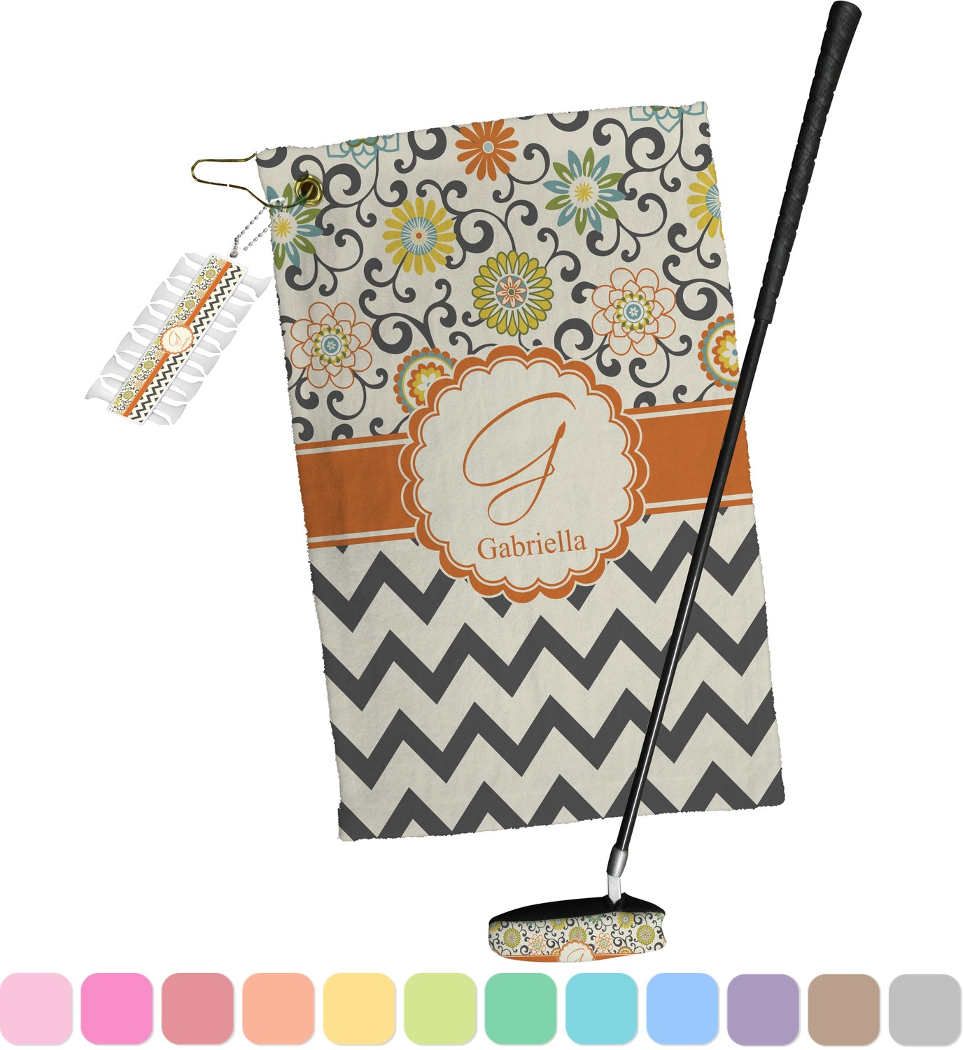 Swirls, Floral & Chevron Golf Towel Gift Set (Personalized ...