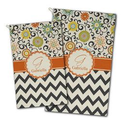 Swirls, Floral & Chevron Golf Towel - Full Print w/ Name and Initial