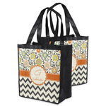Swirls, Floral & Chevron Grocery Bag (Personalized)