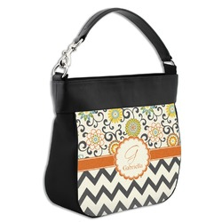 Swirls, Floral & Chevron Hobo Purse w/ Genuine Leather Trim (Personalized)