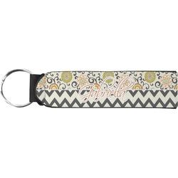 Swirls, Floral & Chevron Neoprene Keychain Fob (Personalized)