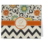 Swirls, Floral & Chevron Kitchen Towel - Full Print (Personalized)