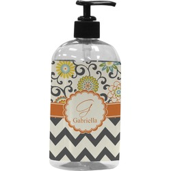 Swirls, Floral & Chevron Plastic Soap / Lotion Dispenser (16 oz - Large) (Personalized)