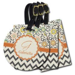 Swirls, Floral & Chevron Plastic Luggage Tags (Personalized)