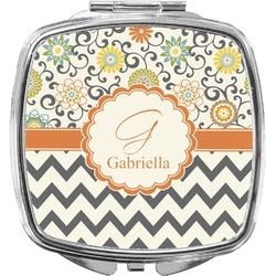 Swirls, Floral & Chevron Compact Makeup Mirror (Personalized)