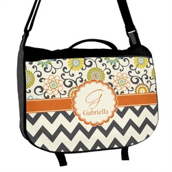 Swirls, Floral & Chevron Messenger Bag (Personalized)