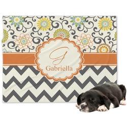 Swirls, Floral & Chevron Minky Dog Blanket - Large  (Personalized)
