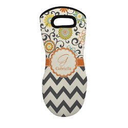Swirls, Floral & Chevron Neoprene Oven Mitt - Single w/ Name and Initial
