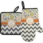 Swirls, Floral & Chevron Oven Mitt & Pot Holder (Personalized)
