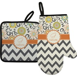 Swirls, Floral & Chevron Oven Mitt & Pot Holder (Personalized)