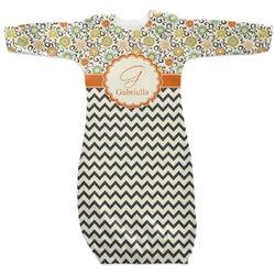 Swirls, Floral & Chevron Newborn Gown (Personalized)