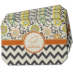 Swirls, Floral & Chevron Dining Table Mat - Octagon w/ Name and Initial
