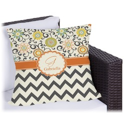 Swirls, Floral & Chevron Outdoor Pillow (Personalized)