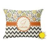 Swirls, Floral & Chevron Outdoor Throw Pillow (Rectangular) (Personalized)