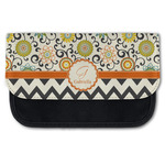 Swirls, Floral & Chevron Canvas Pencil Case w/ Name and Initial