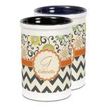 Swirls, Floral & Chevron Ceramic Pencil Holder - Large