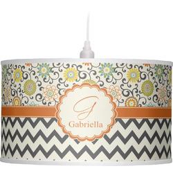 Swirls, Floral & Chevron Drum Pendant Lamp (Personalized)