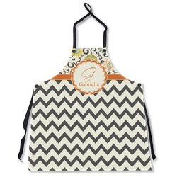 Swirls, Floral & Chevron Apron Without Pockets w/ Name and Initial