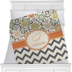 Swirls, Floral & Chevron Blanket (Personalized)
