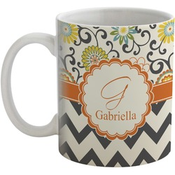 Swirls, Floral & Chevron Coffee Mug (Personalized)