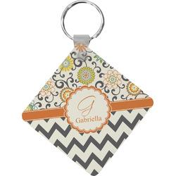 Swirls, Floral & Chevron Diamond Key Chain (Personalized)