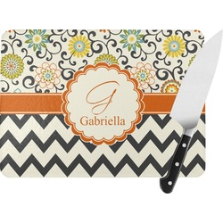 Swirls, Floral & Chevron Rectangular Glass Cutting Board (Personalized)