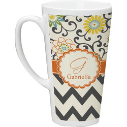 Swirls, Floral & Chevron 16 Oz Latte Mug (Personalized)