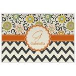 Swirls, Floral & Chevron Laminated Placemat w/ Name and Initial