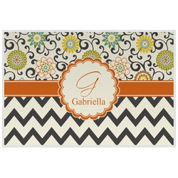 Swirls, Floral & Chevron Placemat (Laminated) (Personalized)