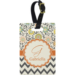 Swirls, Floral & Chevron Rectangular Luggage Tag (Personalized)