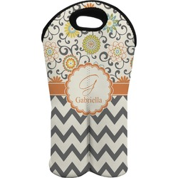 Swirls, Floral & Chevron Wine Tote Bag (2 Bottles) (Personalized)