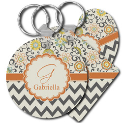 Swirls, Floral & Chevron Plastic Keychains (Personalized)