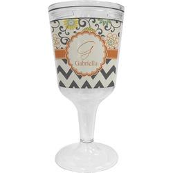 Swirls, Floral & Chevron Wine Tumbler - 11 oz Plastic (Personalized)