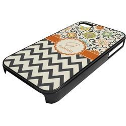 Swirls, Floral & Chevron Plastic 4/4S iPhone Case (Personalized)