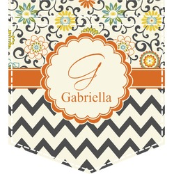 Swirls, Floral & Chevron Iron On Faux Pocket (Personalized)