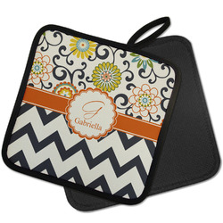 Swirls, Floral & Chevron Pot Holder w/ Name and Initial