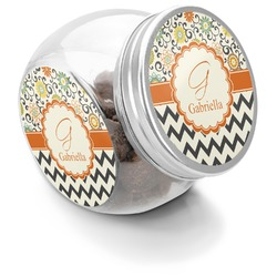 Swirls, Floral & Chevron Puppy Treat Jar (Personalized)