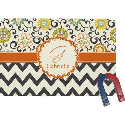 Swirls, Floral & Chevron Rectangular Fridge Magnet (Personalized)