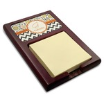 Swirls, Floral & Chevron Red Mahogany Sticky Note Holder (Personalized)