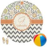 Swirls, Floral & Chevron Round Beach Towel (Personalized)